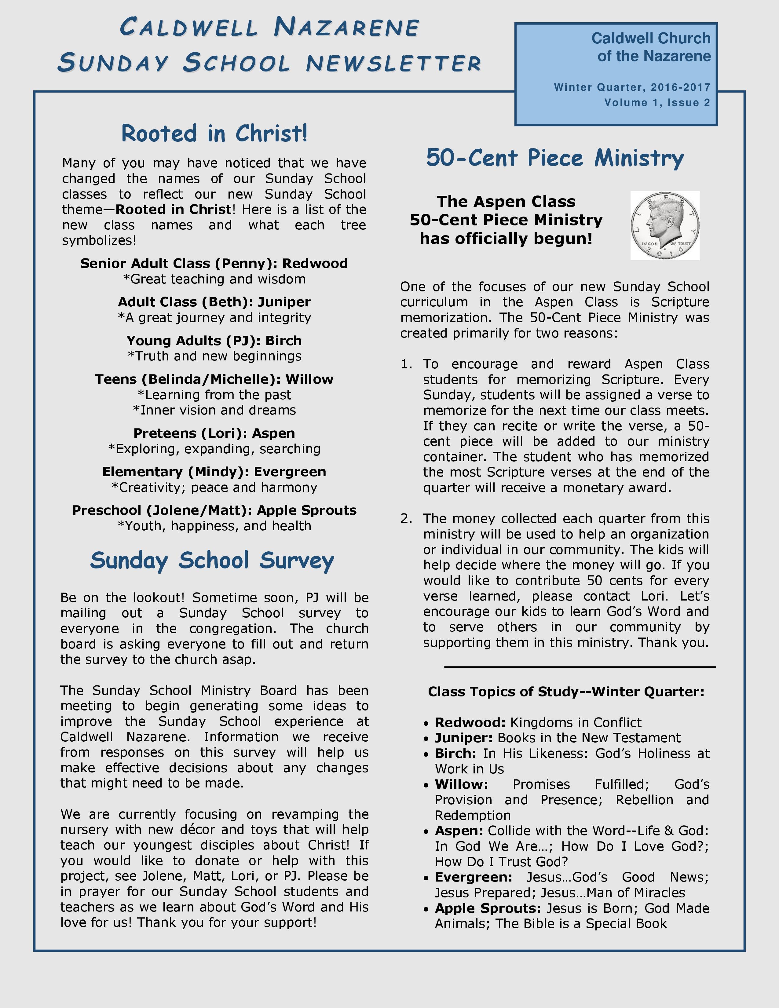 Caldwell Church of the Nazarene: Sunday School Newsletter